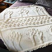 生命之树 树木花草浮雕效果钩针毯子