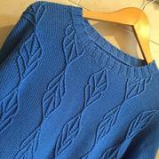 女士棒针浮雕花纹真丝羊绒衫