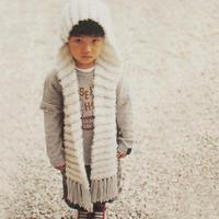 可织成亲子款的可爱棒针连帽围巾