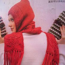 仿毛线球3上的女士棒针叶子花连帽围巾