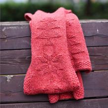 粗针织雪花树图案棒针围巾