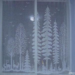 钩针方格编树林图案窗帘