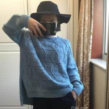 女士棒针时尚前短后长羊毛衫