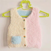 宝宝绒绒线棒针拼色马甲(3-2)后片及口袋的编织方法