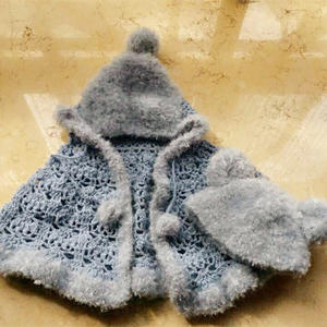 琅琊钩针儿童连帽披肩斗篷和小熊帽
