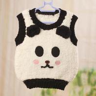 绒绒线婴幼儿棒针卡通熊猫背心(4-3)背心领口袖口及下摆