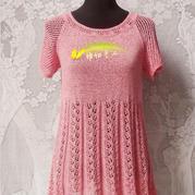 云素麻棉女士棒针短袖裙衣
