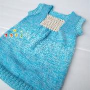 蓝色女童棒针背心裙