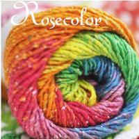 Rosecolor长段染线 彩虹线/棉丝混纺/围巾线宝宝线/披肩线100克