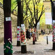 传递美传递温暖的毛线涂鸦走上首尔街头