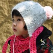 儿童棒针兔毛绒球护耳帽