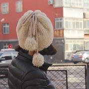 双面绒棒针帽子围脖两用