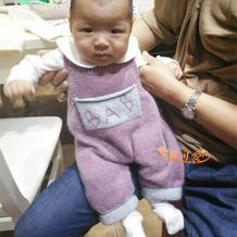 婴幼儿棒针背带爬爬裤