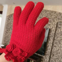 红红火火美美的女士钩针五指手套
