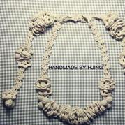 也可以作腰链的钩针象牙白蕾丝挂链