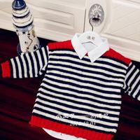 小王子海军风棒针条纹套头毛衣
