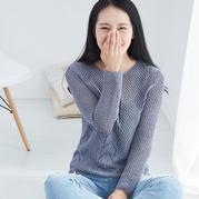 女士棒针镂空花不规则下摆圆领毛衣编织视频(2-2)
