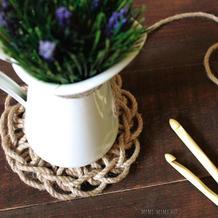 田园风钩针桌垫不用针就可以出成品