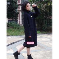 时尚编织女士宽松棒针连衣裙文艺长袍