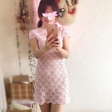 雀羽女士钩针圆领小v开口蕾丝连衣裙