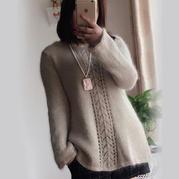 马海羊毛棉女士棒针镂空花淑女毛衣