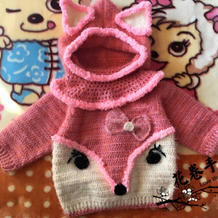 前后两穿的从领口往下钩儿童狐狸毛衣编织方法(附围脖帽)