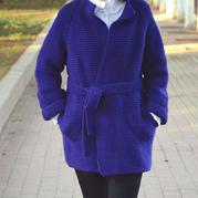 女士棒针搓板针中长款外套大衣