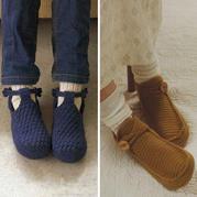 手钩鞋女士钩针居家室内鞋图解