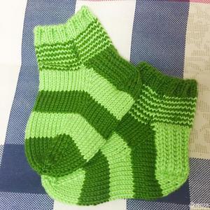 手工编织棒针条纹宝宝袜子图解翻译教程
