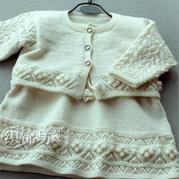婴幼儿棒针公主套裙(圆领小开衫+后开扣背心裙)