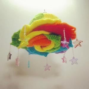 娃娃家玩偶纱钩针滴落的星子彩虹玫瑰挂饰