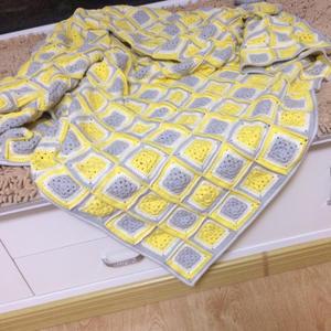 有机棉祖母方格钩针拼花毯