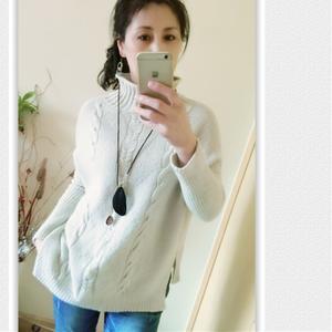 女士棒针高领羊毛羊绒衫
