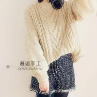宽松泡泡袖时尚女士棒针粗针织毛衣