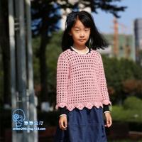 美丽诺羊毛混纺线钩织女童春秋套衫