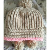 暖和实用冬季棒针女士双层护耳帽