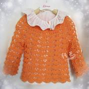 从上往下钩宝宝桔色扇形花样羊绒衫