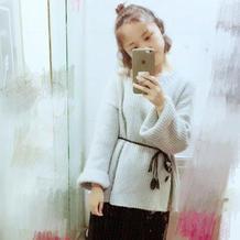 时尚流行假元宝针女士宽松圆领毛衣