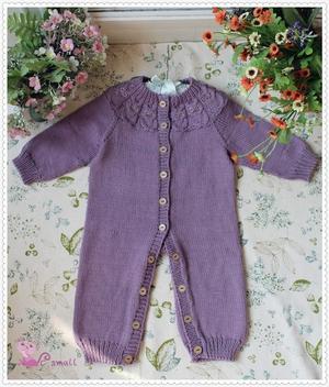 棒针猫头鹰花样婴幼儿开襟系扣连体衣