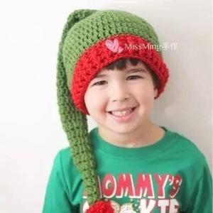 钩针圣诞长尾巴帽(附从新生儿到成人不同规格钩法说明)