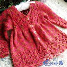 手工编织宝宝裙式棒针开衫