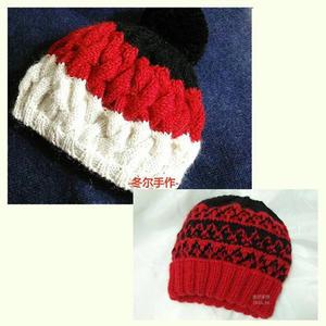 两顶基础款棒针编织冬季毛线帽