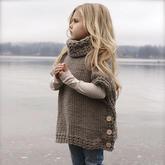 手编秋冬时尚带扣高领斗蓬 简单易学〖的织毛衣款式系列