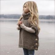 手编秋冬时尚带扣高领斗蓬 简单易学的织毛衣款式系列
