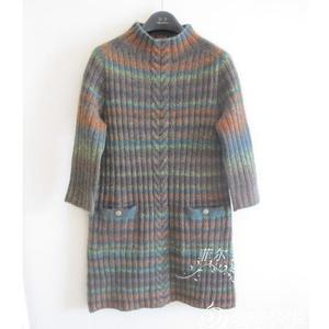 从领口往上织女士棒针高领七分袖H型条纹打底裙