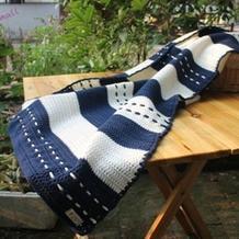 钩法非常简单的海军风钩针童毯