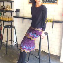 女士炫彩波浪条纹棒针裙