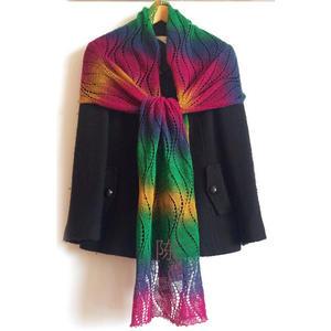 五彩长段染女士棒针长围巾