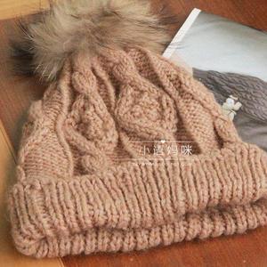 美丽冬款女士棒针毛线帽