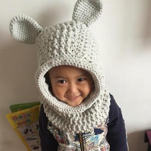 萌萌哒兔耳朵连帽围脖编织图解